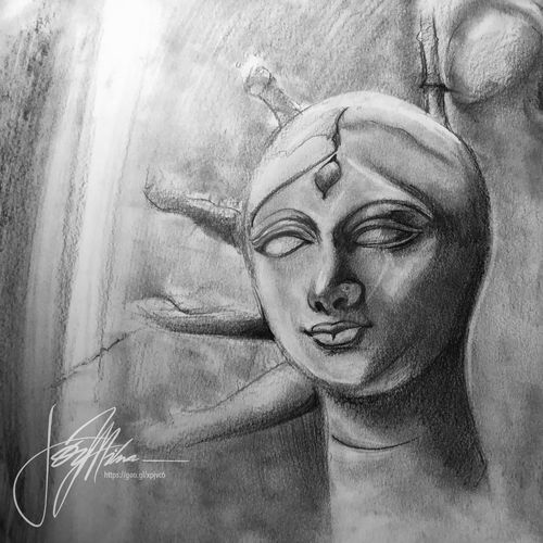 """durga series ii..., 18 x 12 inch, joydeep mitra,drawings,expressionist drawings,fine art drawings,impressionist drawings,modern drawings,pop art drawings,paintings for living room,paintings for bedroom,paintings for office,fabriano sheet,ink color,pen color,photo ink,graphite pencil,18x12inch,GAL0768317331"