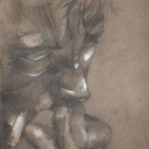 """man's portrait in charcoal..."", 9 x 11 inch, joydeep mitra,drawings,expressionist drawings,fine art drawings,impressionist drawings,modern drawings,pop art drawings,paintings for living room,paintings for office,ivory sheet,pen color,photo ink,graphite pencil,9x11inch,GAL0768317332"