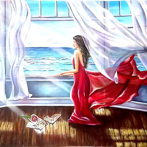 """oil painting """"waiting till eternity"""", 36 x 30 inch, archna  singh,paintings,conceptual paintings,paintings for dining room,paintings for living room,paintings for bedroom,paintings for office,paintings for hotel,paintings for school,paintings for hospital,canvas,oil,36x30inch,GAL0271117333"""