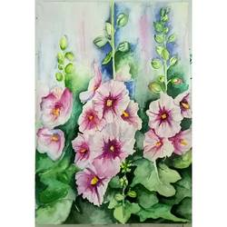red flower  painting, 8 x 12 inch, payal singla,flower paintings,thick paper,watercolor,8x12inch,GAL0787917334