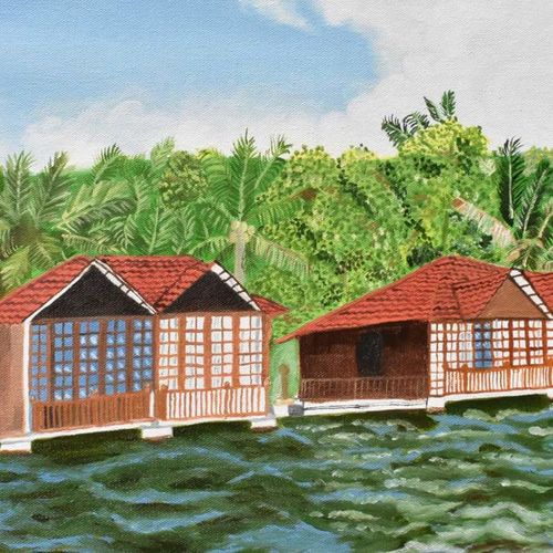 kerala, 20 x 15 inch, suchitra tata,paintings,landscape paintings,paintings for dining room,paintings for living room,paintings for bedroom,paintings for office,paintings for hotel,paintings for hospital,canvas,oil,20x15inch,GAL0288617342