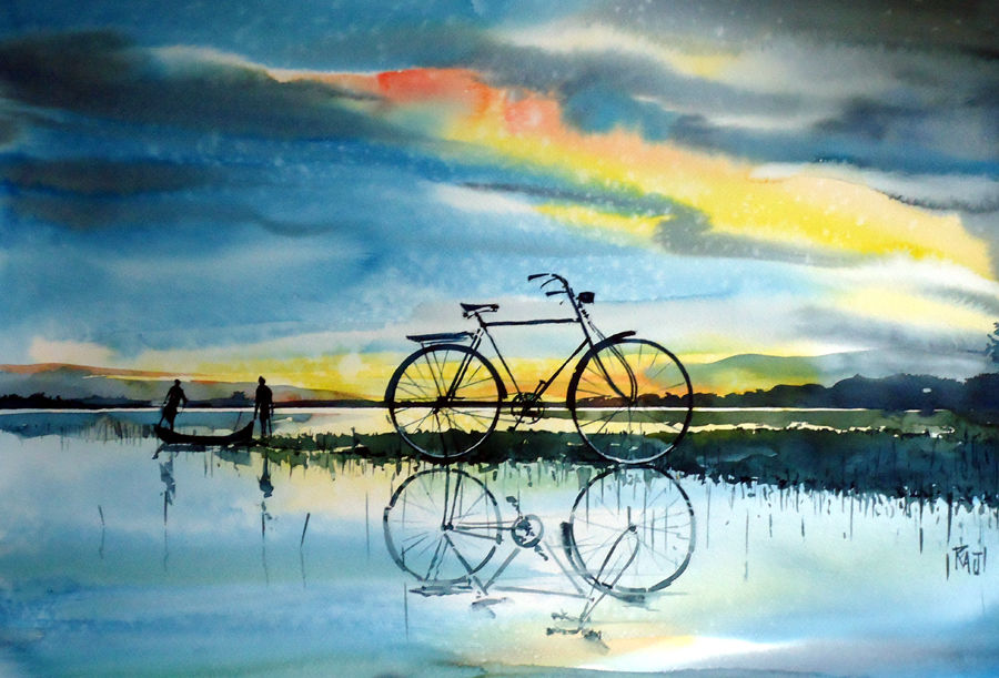 before the sunset, 15 x 21 inch, raji p,landscape paintings,paintings for living room,fabriano sheet,watercolor,15x21inch,GAL05901735