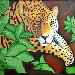 leopard oil painting, 30 x 18 inch, abhinav  jindal,wildlife paintings,paintings for living room,paintings for office,paintings for kids room,paintings for hotel,canvas,oil,30x18inch,GAL0802017351