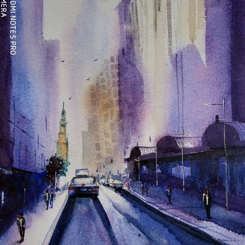 street, 10 x 14 inch, santosh  gorai,paintings,cityscape paintings,paintings for living room,paintings for office,paintings for hotel,handmade paper,watercolor,10x14inch,GAL0804117356
