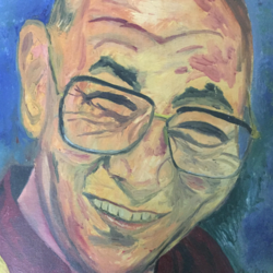 kundan- his holiness the dalai lama, 14 x 18 inch, rajan pradhan,paintings,portrait paintings,paintings for dining room,paintings for living room,paintings for bedroom,paintings for hotel,canvas,oil,14x18inch,GAL0798617357