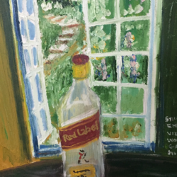 still life with empty bottle of scotch wishkey, 20 x 20 inch, rajan pradhan,paintings,still life paintings,paintings for dining room,paintings for living room,paintings for bedroom,paintings for bathroom,paintings for hotel,canvas,oil,20x20inch,GAL0798617362