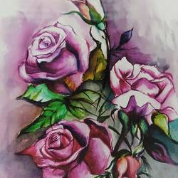 flower rose, 8 x 10 inch, shardha jodh,paintings,flower paintings,paintings for dining room,paintings for living room,paintings for bedroom,paintings for kids room,paintings for hotel,oil sheet,watercolor,8x10inch,GAL0807117372