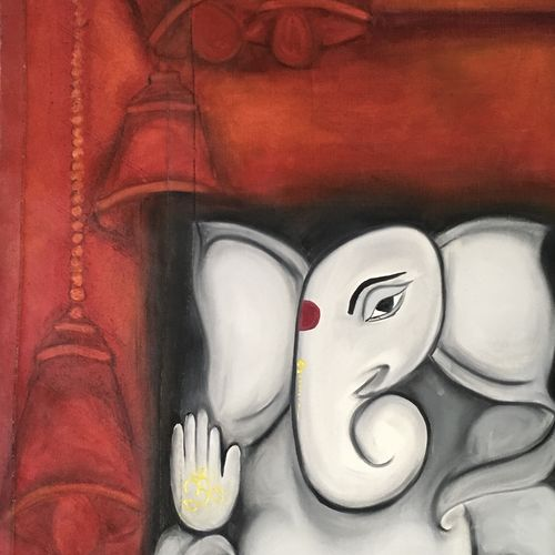 ganesha, 21 x 33 inch, ila  singh,religious paintings,paintings for living room,canvas,oil,21x33inch,GAL0795917376
