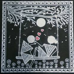 love story warli painting, 6 x 6 inch, anushree  jain,love paintings,warli paintings,miniature painting.,paintings for dining room,paintings for living room,paintings for bedroom,paintings for hotel,thick paper,pen color,6x6inch,GAL0765717378heart,family,caring,happiness,forever,happy,trust,passion,romance,sweet,kiss,love,hugs,warm,fun,kisses,joy,friendship,marriage,chocolate,husband,wife,forever,caring,couple,sweetheart