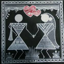 warli painting love story 10, 6 x 6 inch, anushree  jain,love paintings,warli paintings,miniature painting.,paintings for dining room,paintings for living room,paintings for bedroom,paintings for hotel,thick paper,pen color,6x6inch,GAL0765717379heart,family,caring,happiness,forever,happy,trust,passion,romance,sweet,kiss,love,hugs,warm,fun,kisses,joy,friendship,marriage,chocolate,husband,wife,forever,caring,couple,sweetheart