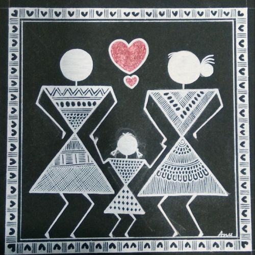 warli painting love story, 6 x 6 inch, anushree  jain,love paintings,warli paintings,miniature painting.,paintings for dining room,paintings for living room,paintings for bedroom,paintings for hotel,thick paper,pen color,6x6inch,GAL0765717380heart,family,caring,happiness,forever,happy,trust,passion,romance,sweet,kiss,love,hugs,warm,fun,kisses,joy,friendship,marriage,chocolate,husband,wife,forever,caring,couple,sweetheart