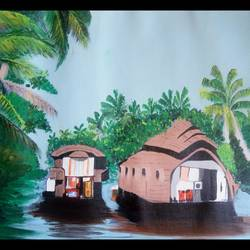 kerala backwaters, 24 x 18 inch, nalini jain,paintings,nature paintings,canvas board,acrylic color,24x18inch,GAL0412817385Nature,environment,Beauty,scenery,greenery