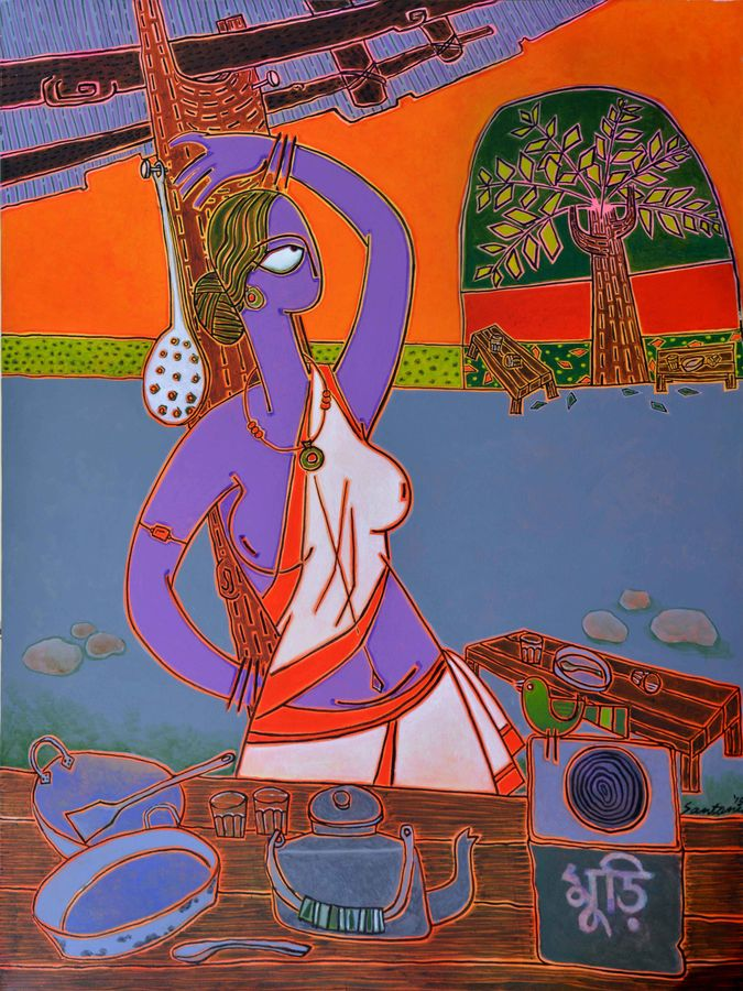 at the tea-stall, 46 x 34 inch, santanu nandan dinda,figurative paintings,paintings for dining room,canvas,acrylic color,46x34inch,GAL07051739