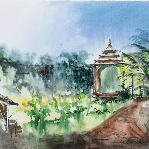 nature painting - a temple in the green.., 26 x 18 inch, dipankar  biswas,paintings,landscape paintings,nature paintings,paintings for living room,paintings for bedroom,paintings for office,paintings for hotel,handmade paper,watercolor,26x18inch,GAL0293217393Nature,environment,Beauty,scenery,greenery