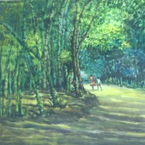 nature painting - domjur 1, 19 x 17 inch, aloke  dutta,paintings,landscape paintings,nature paintings,paintings for dining room,paintings for living room,paintings for bedroom,paintings for office,paintings for hotel,handmade paper,watercolor,19x17inch,GAL0767917395Nature,environment,Beauty,scenery,greenery