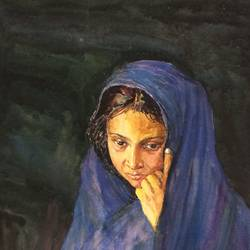 the lonely lady, 19 x 25 inch, aloke  dutta,paintings,figurative paintings,portrait paintings,paintings for dining room,paintings for living room,paintings for bedroom,paintings for office,paintings for hotel,handmade paper,watercolor,19x25inch,GAL0767917396