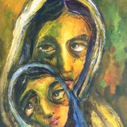 the mother and child, 10 x 15 inch, aloke  dutta,paintings,figurative paintings,portrait paintings,paintings for dining room,paintings for living room,paintings for bedroom,paintings for office,paintings for hotel,handmade paper,watercolor,10x15inch,GAL0767917397