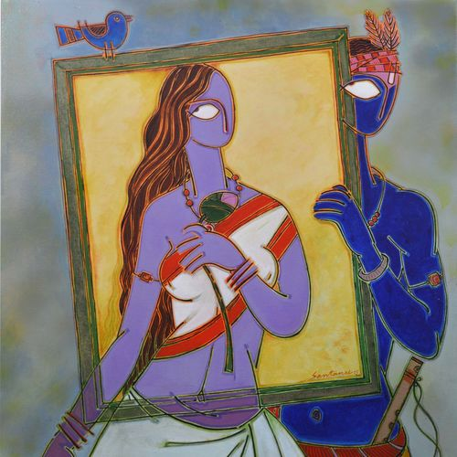 in a frame 1, 46 x 34 inch, santanu nandan dinda,figurative paintings,paintings for living room,canvas,acrylic color,46x34inch,GAL07051740