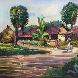 nature painting - kharibari i, 27 x 19 inch, aloke  dutta,paintings,landscape paintings,nature paintings,handmade paper,watercolor,27x19inch,GAL0767917401Nature,environment,Beauty,scenery,greenery