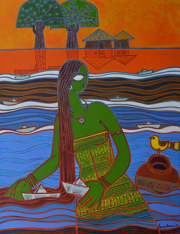 paper boats, 46 x 34 inch, santanu nandan dinda,figurative paintings,paintings for office,canvas,acrylic color,46x34inch,GAL07051741