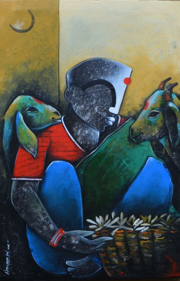 pondering life, 24 x 36 inch, anupam  pal,figurative paintings,abstract expressionist paintings,paintings for dining room,paintings for living room,paintings for bedroom,paintings for office,paintings for bathroom,paintings for kids room,paintings for hotel,paintings for kitchen,paintings for school,paintings for hospital,canvas,acrylic color,mixed media,24x36inch,GAL08217418