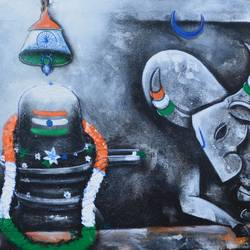 celebration, 48 x 24 inch, anupam  pal,figurative paintings,lord shiva paintings,paintings for dining room,paintings for living room,paintings for bedroom,paintings for office,paintings for bathroom,paintings for kids room,paintings for hotel,paintings for kitchen,canvas,acrylic color,mixed media,48x24inch,GAL08217420