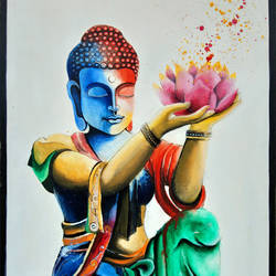 lotus buddha , 24 x 36 inch, chetna bernela,paintings,buddha paintings,religious paintings,paintings for dining room,paintings for living room,paintings for kids room,paintings for hotel,canvas,acrylic color,24x36inch,religious,peace,meditation,meditating,gautam,goutam,buddha,lord,modern art,colourful,lotus,GAL0784517426