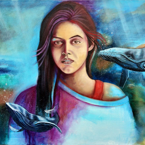 underwater beauty, 24 x 36 inch, chetna bernela,paintings,wildlife paintings,landscape paintings,modern art paintings,portrait paintings,nature paintings,paintings for dining room,paintings for living room,paintings for bedroom,paintings for kids room,paintings for hotel,canvas,acrylic color,24x36inch,GAL0784517429Nature,environment,Beauty,scenery,greenery