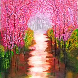 the pink valley, 12 x 16 inch, kanchana swapna korati,paintings,landscape paintings,paintings for living room,paintings for living room,canvas,acrylic color,oil,watercolor,12x16inch,GAL0817617431