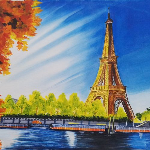 eiffle tower with landscape, 18 x 24 inch, sandhya kumari,paintings,wildlife paintings,flower paintings,cityscape paintings,landscape paintings,nature paintings,expressionist paintings,realism paintings,paintings for dining room,paintings for living room,paintings for bedroom,paintings for office,paintings for kids room,paintings for hotel,paintings for school,paintings for hospital,canvas,acrylic color,18x24inch,GAL0365917433Nature,environment,Beauty,scenery,greenery