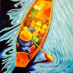 boat seller, 16 x 24 inch, huma firdaus,paintings,flower paintings,landscape paintings,modern art paintings,conceptual paintings,still life paintings,nature paintings,abstract expressionist paintings,contemporary paintings,love paintings,paintings for dining room,paintings for living room,paintings for bedroom,paintings for office,paintings for kids room,paintings for hotel,paintings for kitchen,paintings for school,paintings for hospital,canvas board,acrylic color,16x24inch,GAL0607917435Nature,environment,Beauty,scenery,greenery