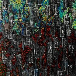the burning city , 24 x 30 inch, sanjana nagpal,paintings,abstract paintings,canvas,mixed media,24x30inch,GAL0755517436