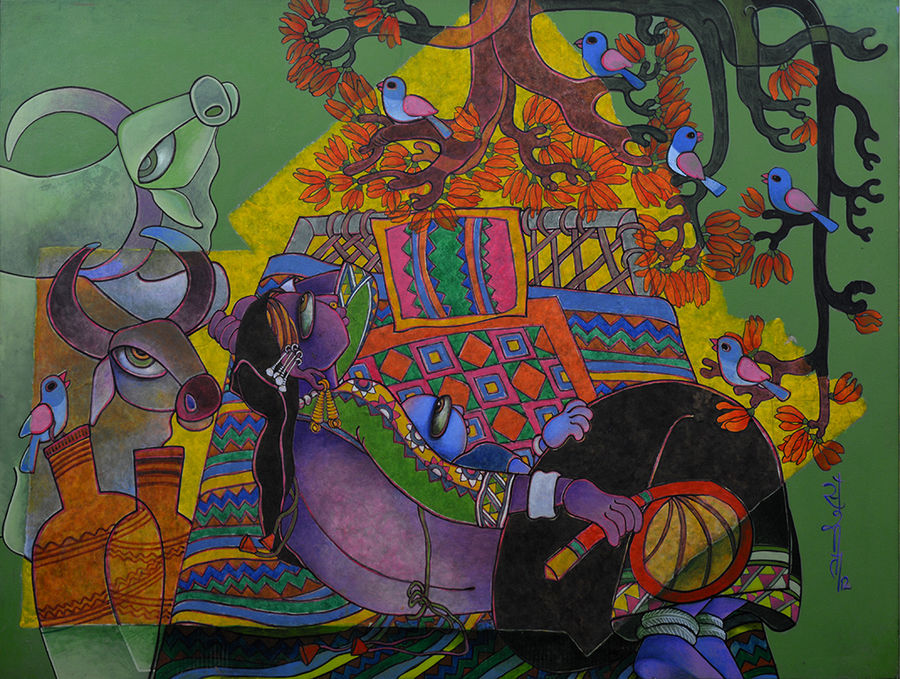 mother & child 2, 46 x 34 inch, sunita dinda,figurative paintings,paintings for bedroom,canvas,acrylic color,46x34inch,GAL06951744