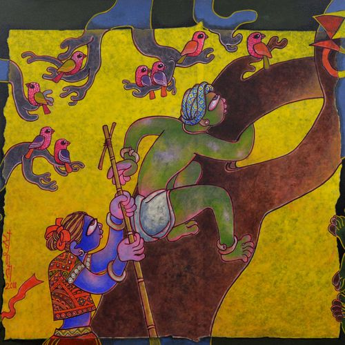 children at play, 46 x 34 inch, sunita dinda,figurative paintings,paintings for dining room,canvas,acrylic color,46x34inch,GAL06951745