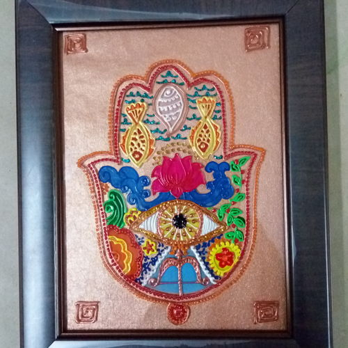 5 elements hamsa, 6 x 8 inch, deepti agrawal,paintings,abstract paintings,folk art paintings,religious paintings,paintings for hotel,paintings for hospital,paintings for hotel,paintings for hospital,acrylic glass,mixed media,6x8inch,GAL0596817454
