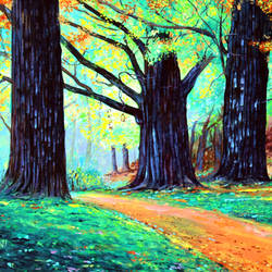 morning path, 36 x 20 inch, raji p,paintings,wildlife paintings,landscape paintings,still life paintings,nature paintings,paintings for dining room,paintings for living room,paintings for bedroom,paintings for office,paintings for kids room,paintings for hotel,paintings for school,paintings for hospital,canvas,acrylic color,36x20inch,GAL059017456Nature,environment,Beauty,scenery,greenery