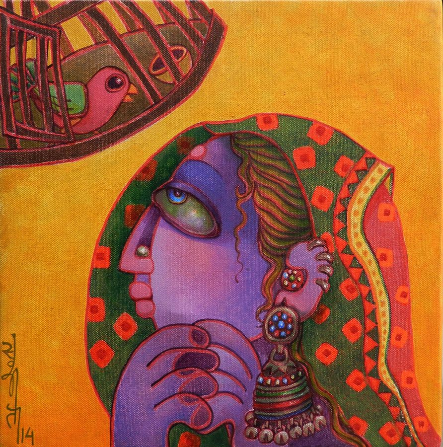 freedom, 12 x 12 inch, sunita dinda,figurative paintings,paintings for bedroom,canvas,acrylic color,12x12inch,GAL06951746