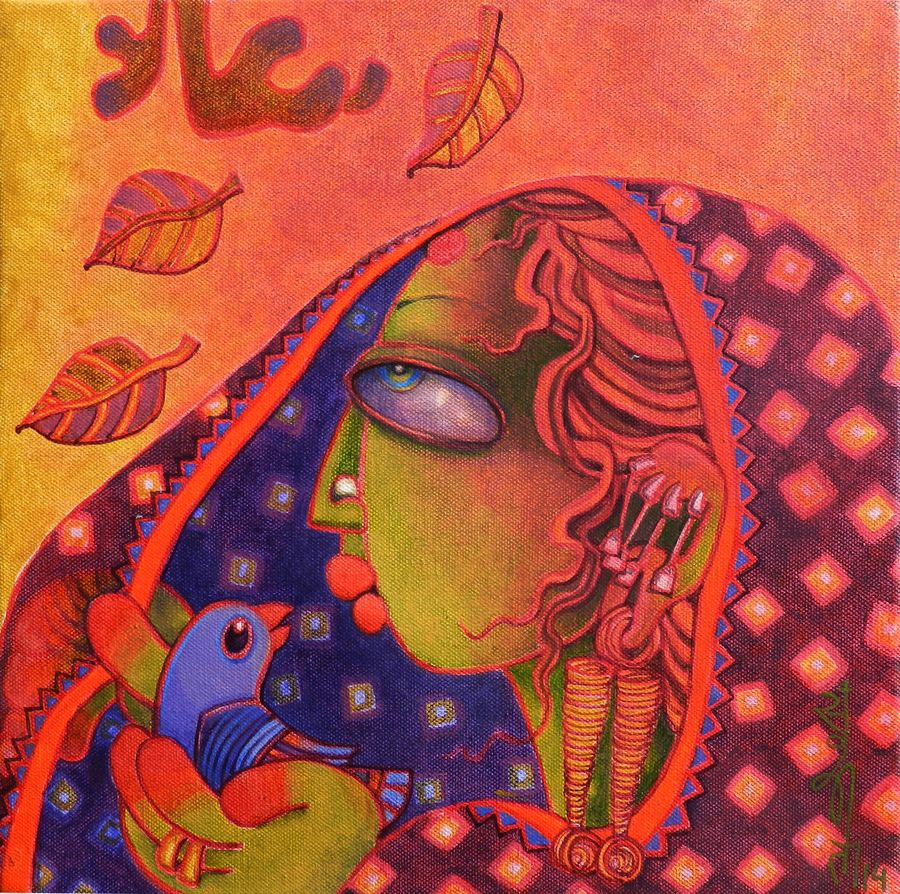 spring, 12 x 12 inch, sunita dinda,figurative paintings,paintings for office,canvas,acrylic color,12x12inch,GAL06951747
