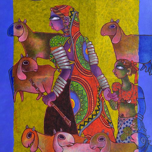 mother & child 1, 46 x 34 inch, sunita dinda,figurative paintings,paintings for bedroom,canvas,acrylic color,46x34inch,GAL06951748