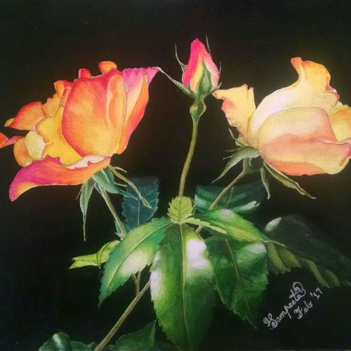 the roses, 9 x 12 inch, sampeeta banerjee,paintings,flower paintings,paintings for bedroom,paintings for bedroom,paper,watercolor,9x12inch,GAL0763717485