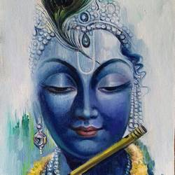 krishna in blue, 18 x 30 inch, vishal gurjar,religious paintings,paintings for living room,paintings for office,paintings for kids room,paintings for hotel,paintings for school,paintings for hospital,canvas,acrylic color,oil,18x30inch