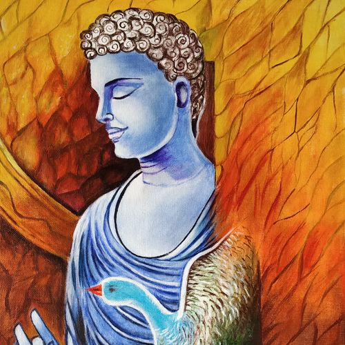 buddha in you, 24 x 20 inch, bharti singh,buddha paintings,paintings for dining room,paintings for living room,paintings for bedroom,paintings for office,canvas,acrylic color,24x20inch,religious,peace,meditation,meditating,gautam,goutam,buddha,peacock,orange,blessing,GAL0751617498