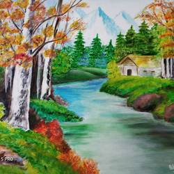 scenery, 24 x 20 inch, bharti singh,paintings for dining room,paintings for living room,paintings for bedroom,paintings for office,paintings for dining room,paintings for living room,paintings for bedroom,paintings for office,nature paintings,canvas,acrylic color,24x20inch,GAL0751617499Nature,environment,Beauty,scenery,greenery