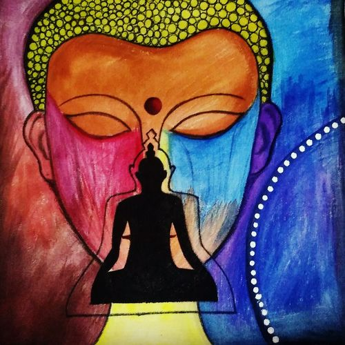 buddha  with silhouette -nirvana, 20 x 20 inch, sharanya missula,buddha paintings,paintings for living room,canvas,watercolor,20x20inchreligious,peace,meditation,meditating,gautam,goutam,buddha,colourful,face,shadow,giving blessing,GAL06321750