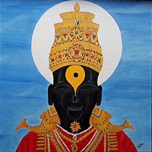 vitthala, 12 x 12 inch, nikita kolekar,paintings for living room,paintings for office,canvas,acrylic color,12x12inch,GAL0802817517