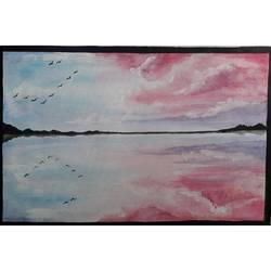 reflection of sky, 11 x 16 inch, nikita kolekar,paintings,nature paintings,paintings for living room,paintings for office,paintings for living room,paintings for office,canvas,acrylic color,watercolor,11x16inch,GAL0802817523Nature,environment,Beauty,scenery,greenery