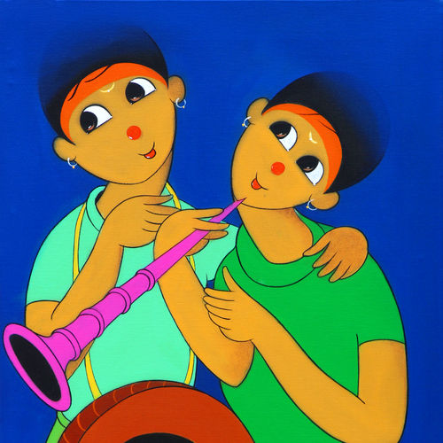 music , 18 x 36 inch, dnyaneshwar  bembade ,paintings,figurative paintings,paintings for office,canvas,acrylic color,18x36inch,GAL046417524