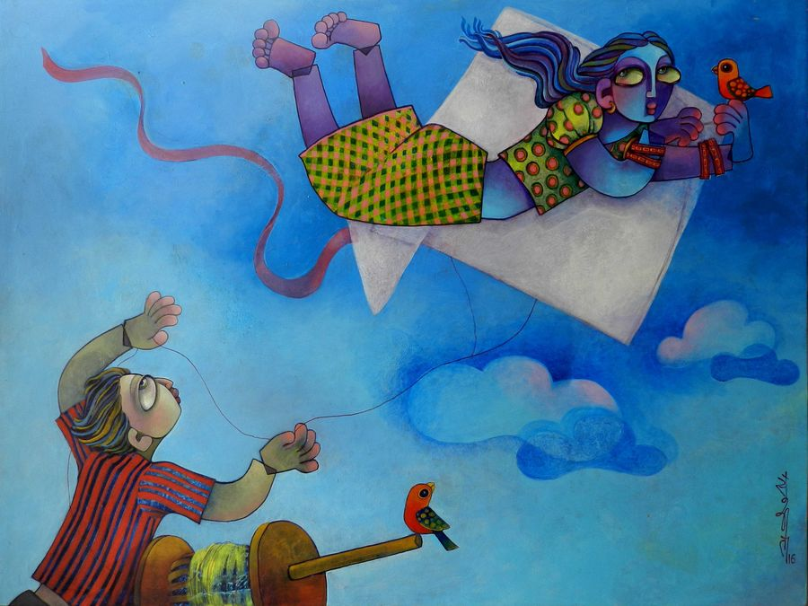i can fly, 48 x 36 inch, sunita dinda,figurative paintings,paintings for bedroom,canvas,acrylic color,48x36inch,GAL06951753