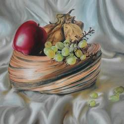 basket of fruits, 24 x 24 inch, rupashree das,paintings,still life paintings,paintings for dining room,paintings for living room,paintings for dining room,paintings for living room,canvas board,oil,24x24inch,GAL0818717531