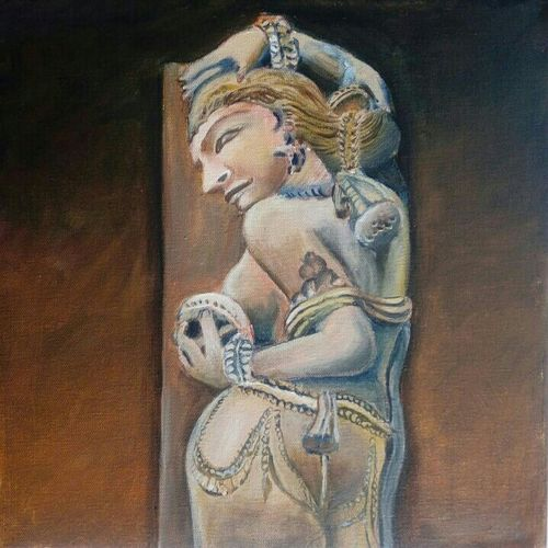 indian sculpture, 12 x 12 inch, rupashree das,paintings,figurative paintings,paintings for dining room,paintings for living room,paintings for bedroom,paintings for hotel,paintings for dining room,paintings for living room,paintings for bedroom,paintings for hotel,canvas board,acrylic color,12x12inch,GAL0818717540